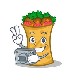 Photography kebab wrap character cartoon vector