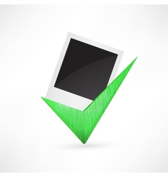 Polaroid photo frame green check mark vector image
