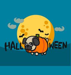 pug pumpkin halloween full moon cartoon vector image