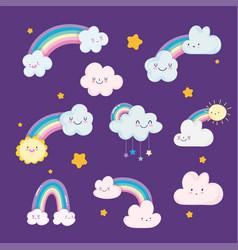 rainbows clouds sun stars sky dream cartoon vector image