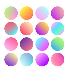 rounded holographic gradient sphere button vector image