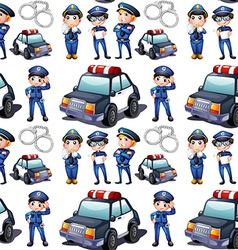 Seamless design with policemen and patrol cars vector image