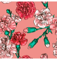 Seamless Floral Background with Carnations vector image