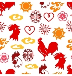 seamless pattern with symbols 2017 chinese vector image