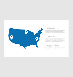 set dark blue usa states elements for vector image
