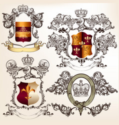 set detailed heraldic design with coat arms vector image