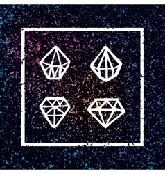 Set of hand drawn diamonds in square frame vector