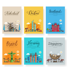 Set of outline different cities for travel vector