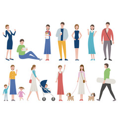 set people in various lifestyle vector image