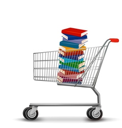 Shopping cart with a stack of books vector image
