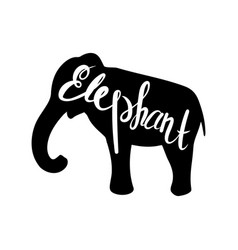 Silhouette of a elephant on a white background vector