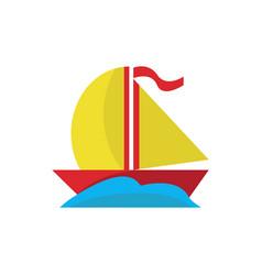 simple cute sea boat vector image