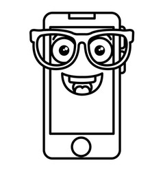 Smartphone device with glasses kawaii character vector