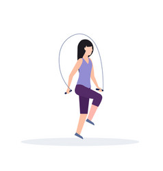 sporty woman doing exercises with jumping rope vector image