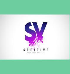 Sv s v purple letter logo design with liquid vector