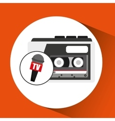 tape recorder microphone tv news icon vector image