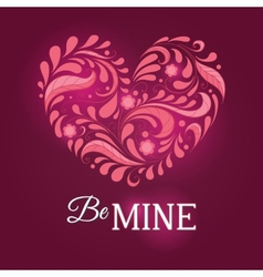 Template for valentine card with heart vector image