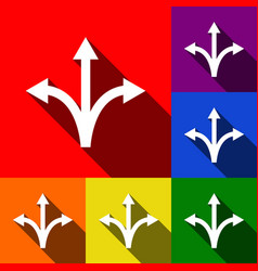 Three-way direction arrow sign set of vector