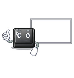 Thumbs up with board button e isolated with the vector
