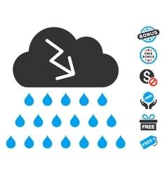 Thunderstorm Rain Cloud Icon With Free Bonus vector