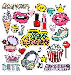 trendy sticker pack heart crown lips diamond vector image
