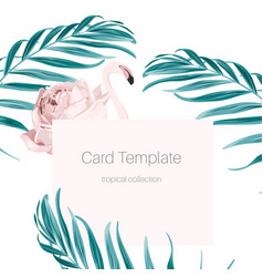 Tropical card pink flamingo rose hip palm leaves vector
