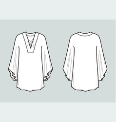 Tunic with wide sleeve front and back views vector