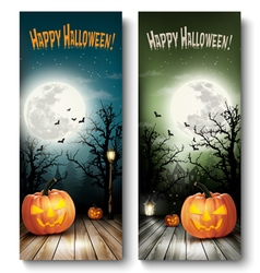 Two holiday halloween banners with pumpkins vector