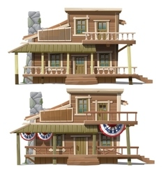 Two storey house in the American country style vector