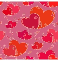 Valentines day seamless background with hearts vector image