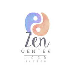 watercolor logo template with yin and yang zen vector image