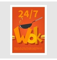 Wok poster Template poster of wok restaurant vector