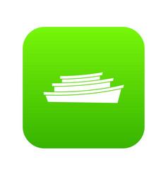 wooden boat icon digital green vector image