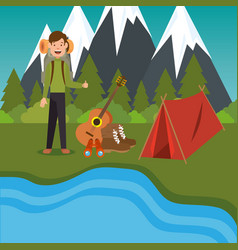 young scout in the camping zone scene vector image