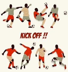 lots of soccer player action football kick some ba vector image vector image