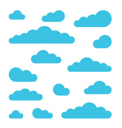 set of cloud signs symbols for weather forecast vector image