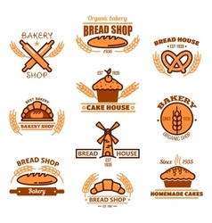 Bread bakery and pastries signs or icons vector image