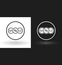 creative sale icon in white and black version vector image vector image