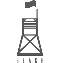 flat lifeguard beach tower with flag vector image