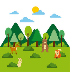 forest and animals wildlife mountains pine tree vector image vector image