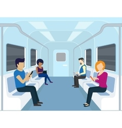 People are using gadgets in the subway vector image vector image
