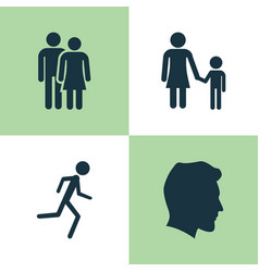 people icons set collection of running male vector image vector image