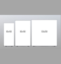 roll up banner stand set vertical vector image