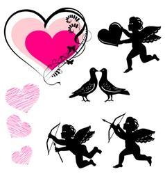 valentines day symbols set vector image vector image