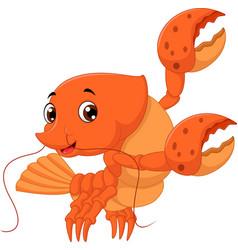 cartoon lobster waving vector image