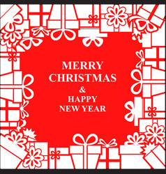 christmas gifts frame vector image vector image