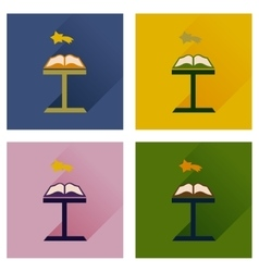 Concept of flat icons with long shadow holy bible vector image