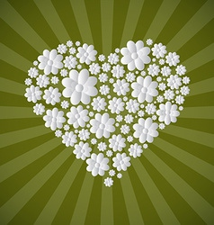 Heart Shaped Paper Cut Flowers on Green Retro vector image