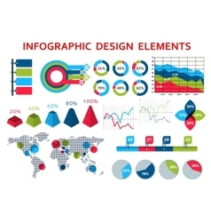 Map and charts infographis elements vector image vector image