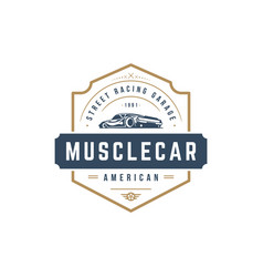 muscle car logo template design element vector image vector image